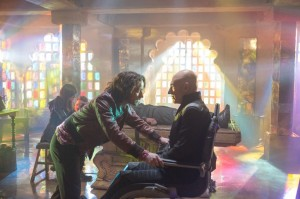 DF-04508 - Young Charles Xavier (James McAvoy) meets his older self (Patrick Stewart) in the future.