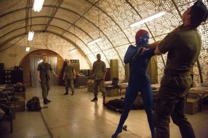 DF-21662R - Mystique (Jennifer Lawrence) powers her way through a top secret military installation.